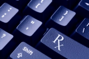 Close-up of the Rx prescription symbol on a computer keyboard.